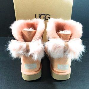 bd7a2b12d49 Ugg Fluff Bow Mini Suede Boots Suntan NIB NWT